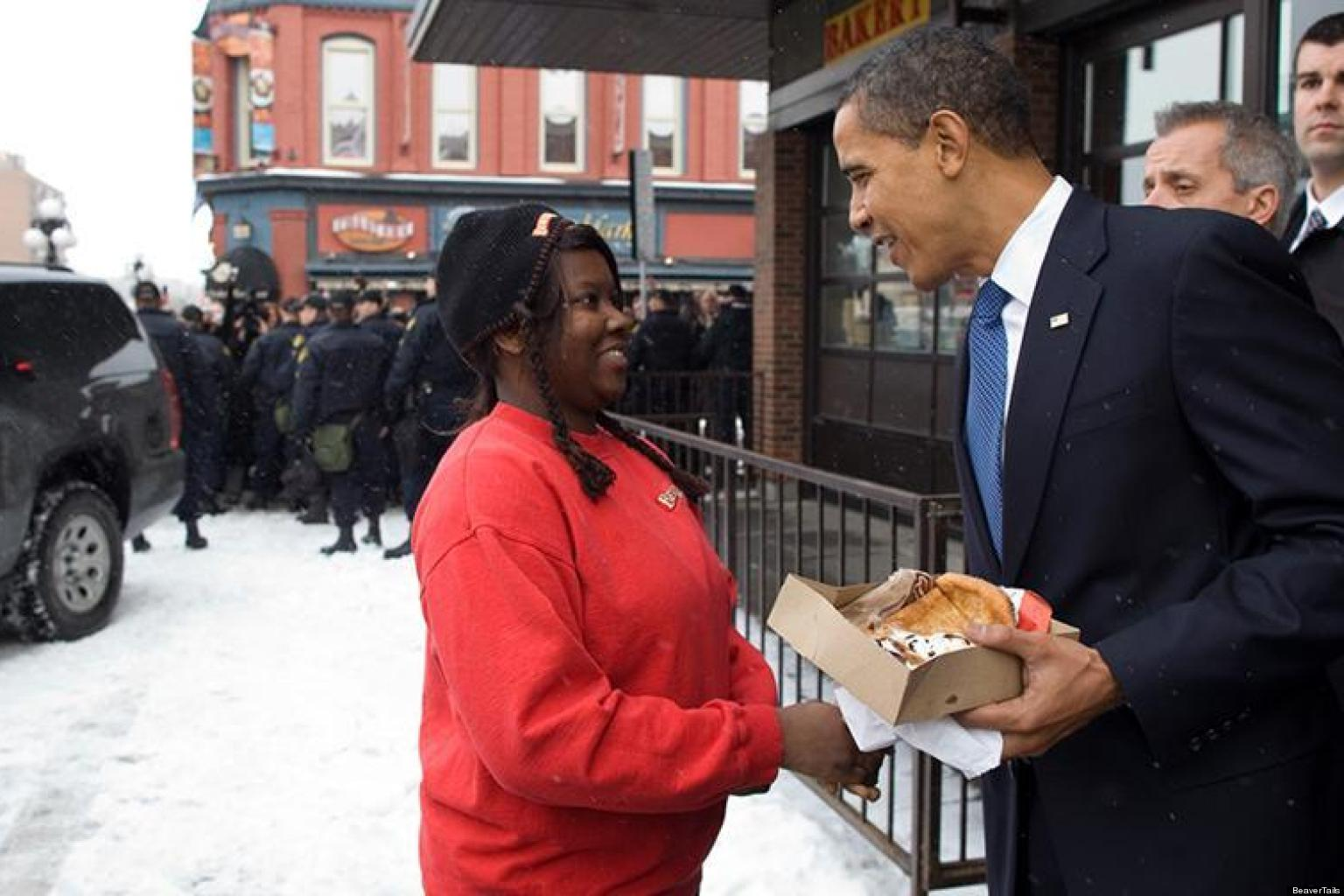President Obama enjoying a beavertail in Ottawa
