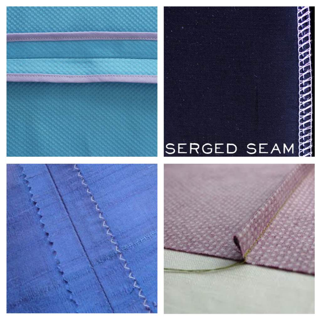 Clockwise from top: bound seam, serge seam, French seam, another French seam