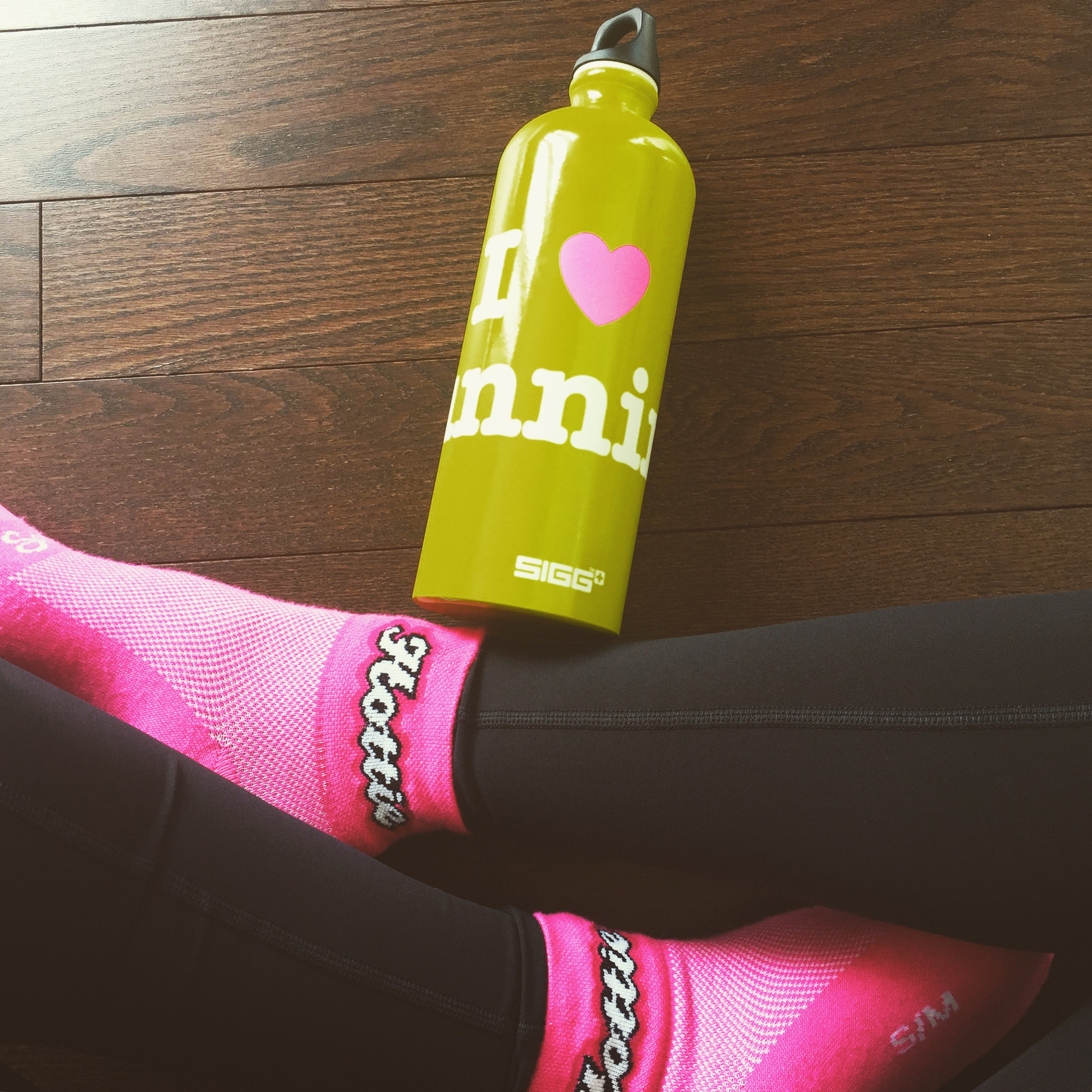 My fave water bottle and running socks!
