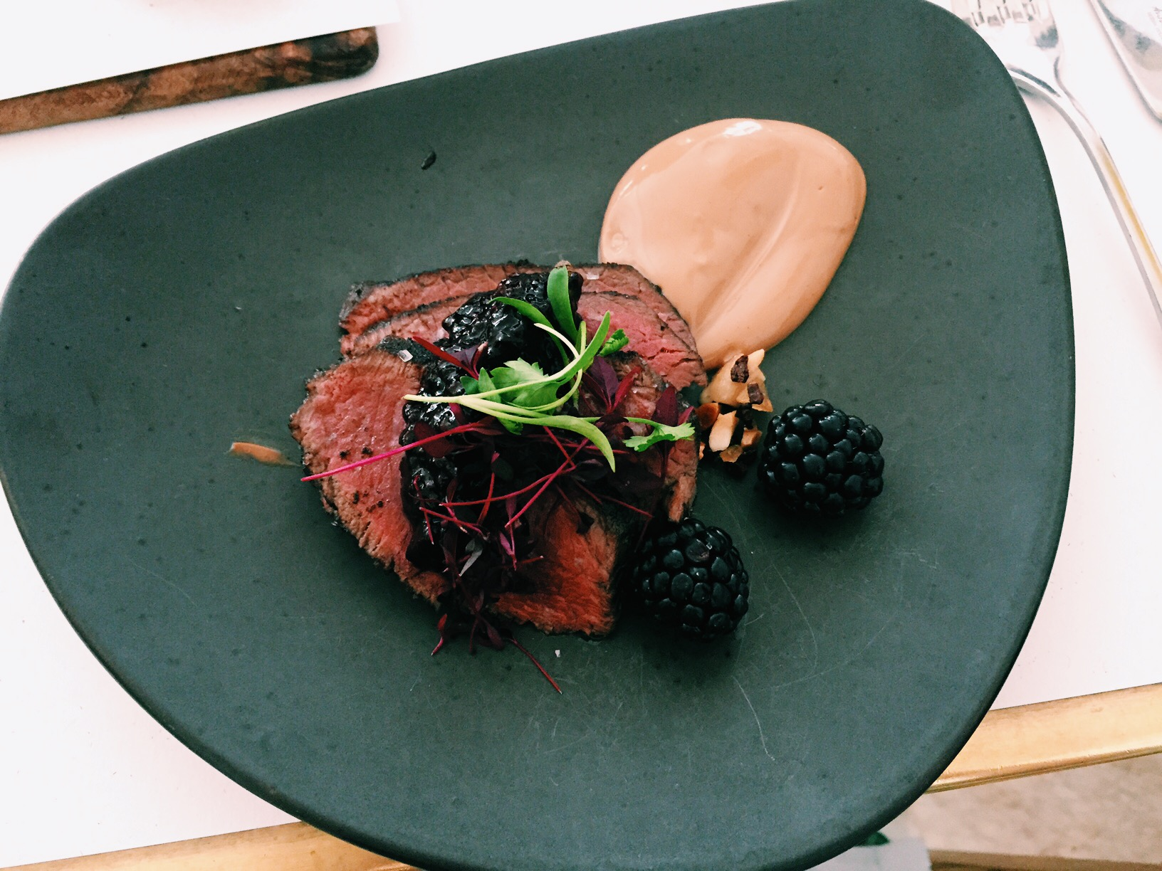 Onglet with blackberry compote and crème fraiche