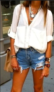 Denim shorts with blouse Style Domination Ottawa Blogger