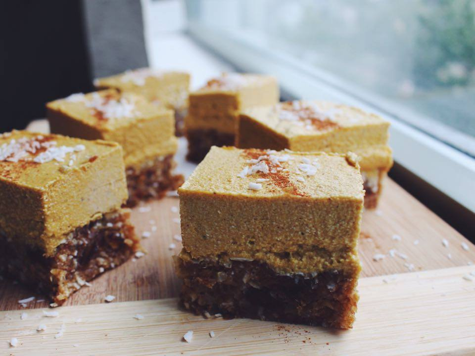 Raw Pumpkin Cheesecake Blondie Recipe Alexandra Courts Vegan Girlfriend Style Domination Fashion Blogger