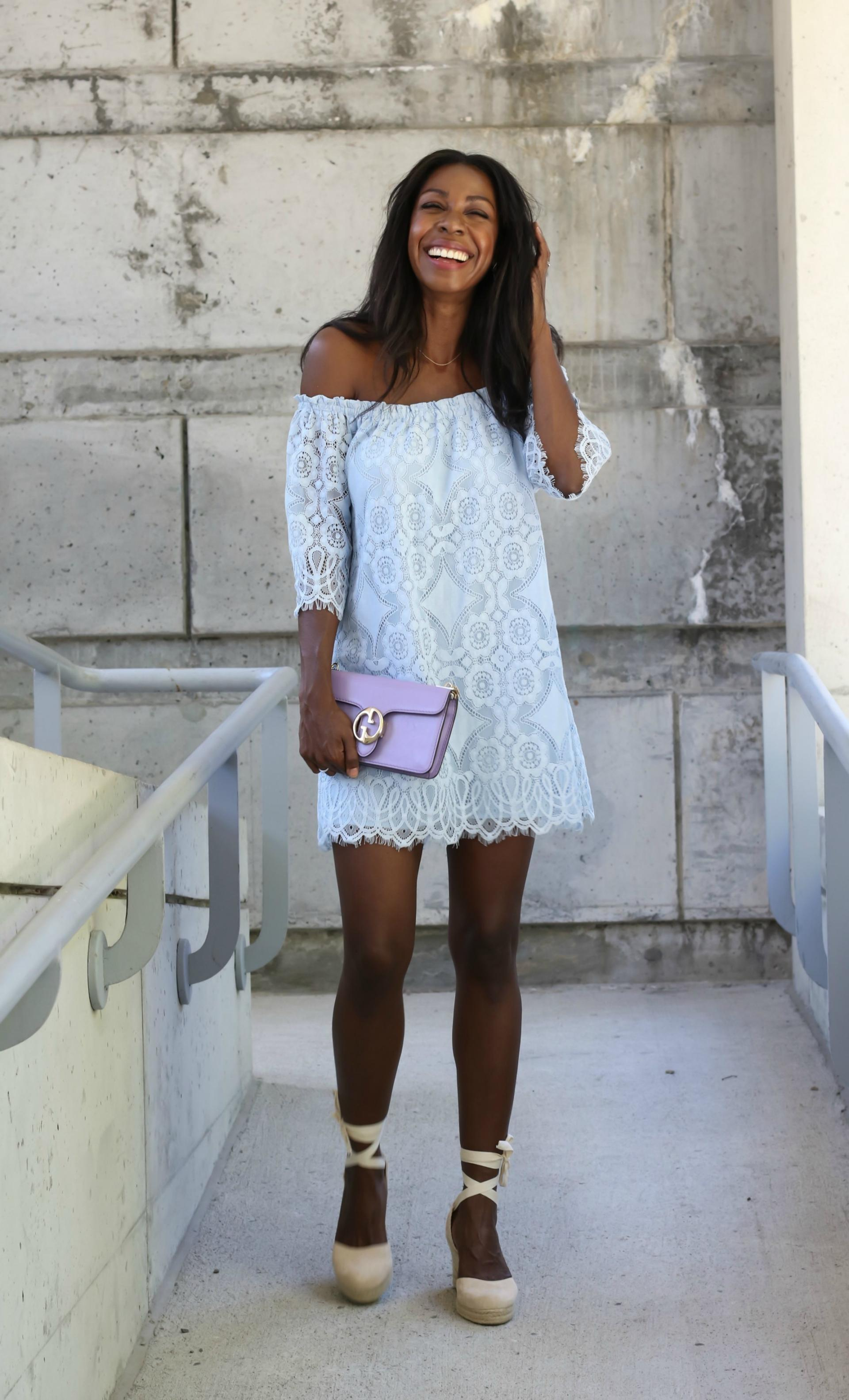 Having a blue lace moment in the most perfect blue lace off-the-shoulder dress