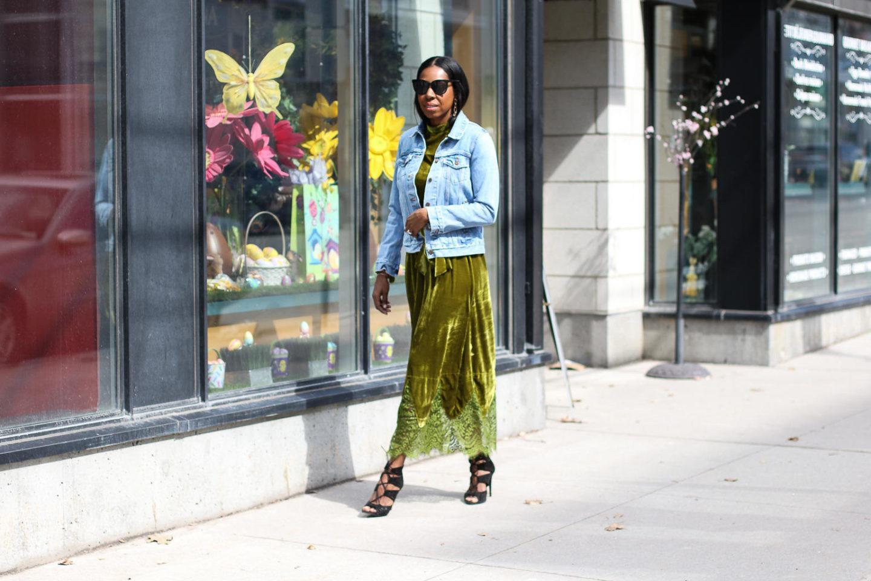 An Effortless Way To Wear A Green Velvet Dress