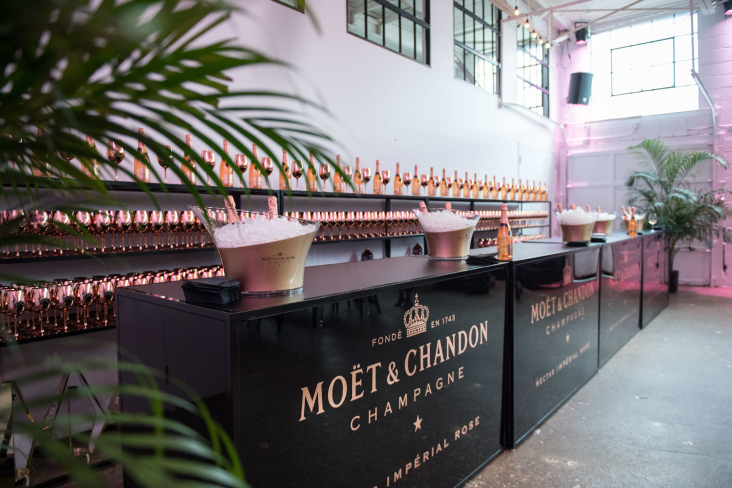 A shot of the Moët & Chandon bar during the launch of Moët's Rosé Impériale champagne