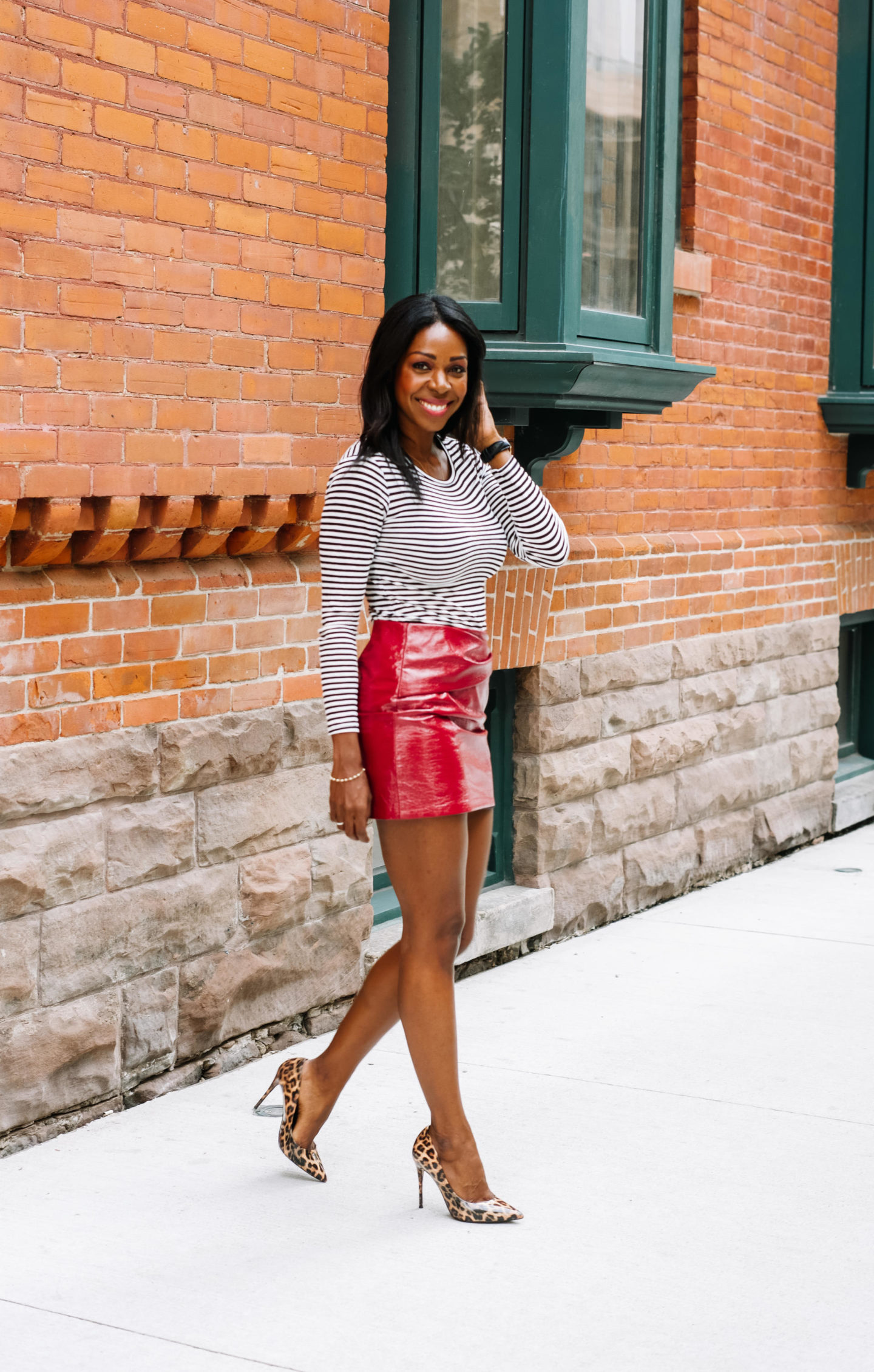 How To Style A Red, Shiny Vegan Leather Skirt   Style Domination by Dominique Baker