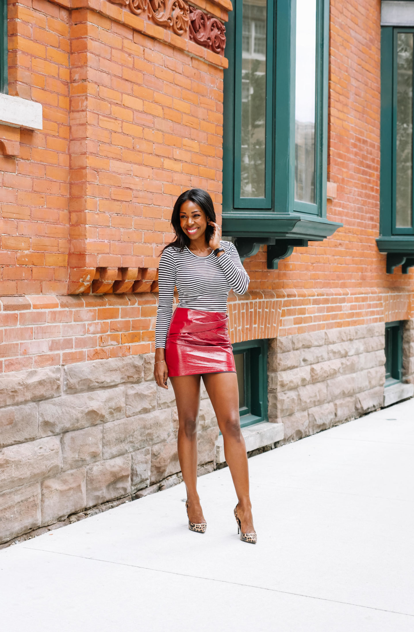 How To Style A Red, Shiny Vegan Leather Skirt
