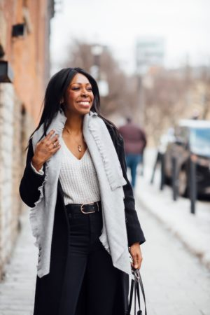 Dominique Baker Smiling While Walking Down The Street Style Domination