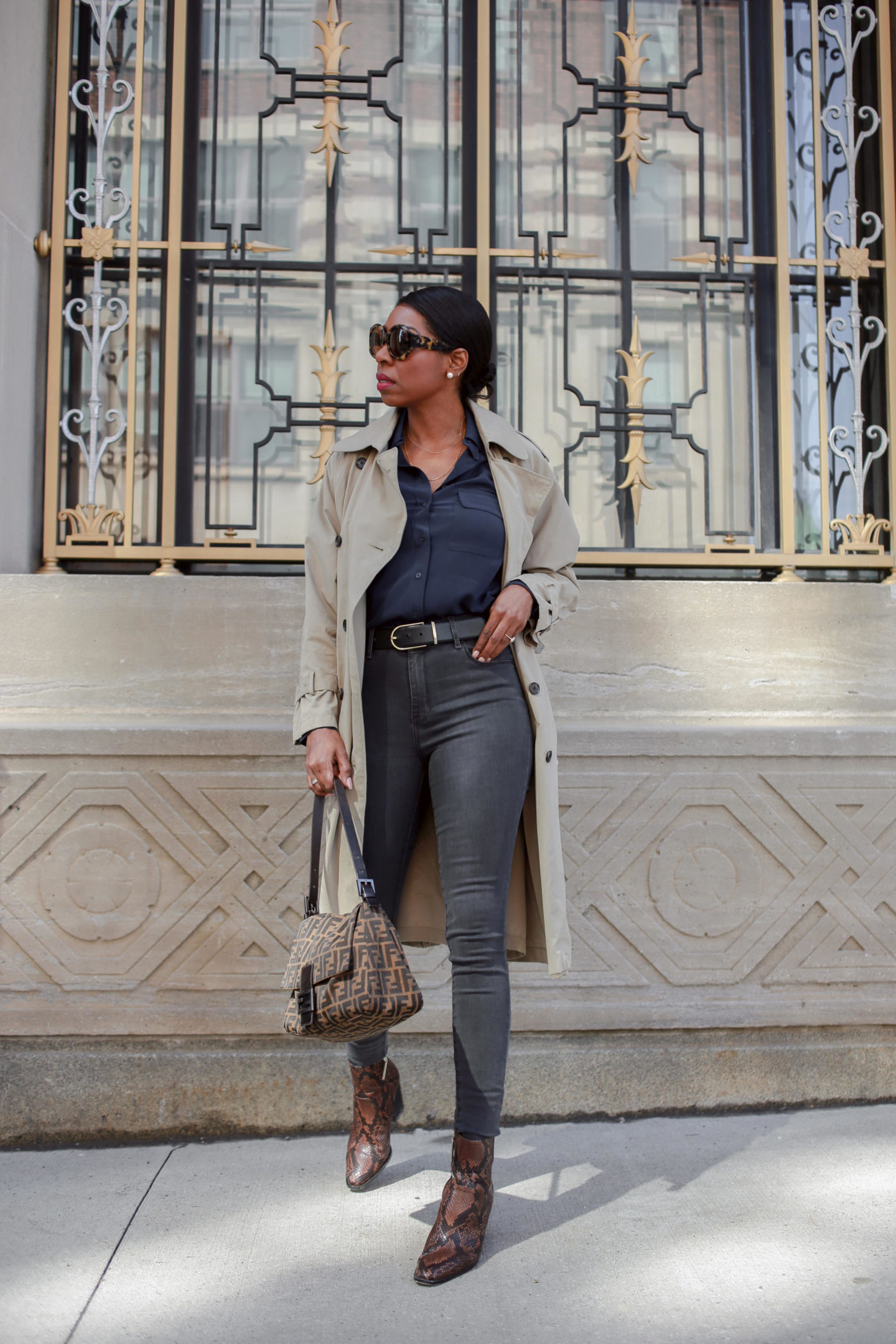 Dominique Baker Wearing Mott & Bow Orchard High-Waisted Skinny Jeans and Harper Silk Blouse Fendi Mama Bag François Pinton Jacky Sunglasses