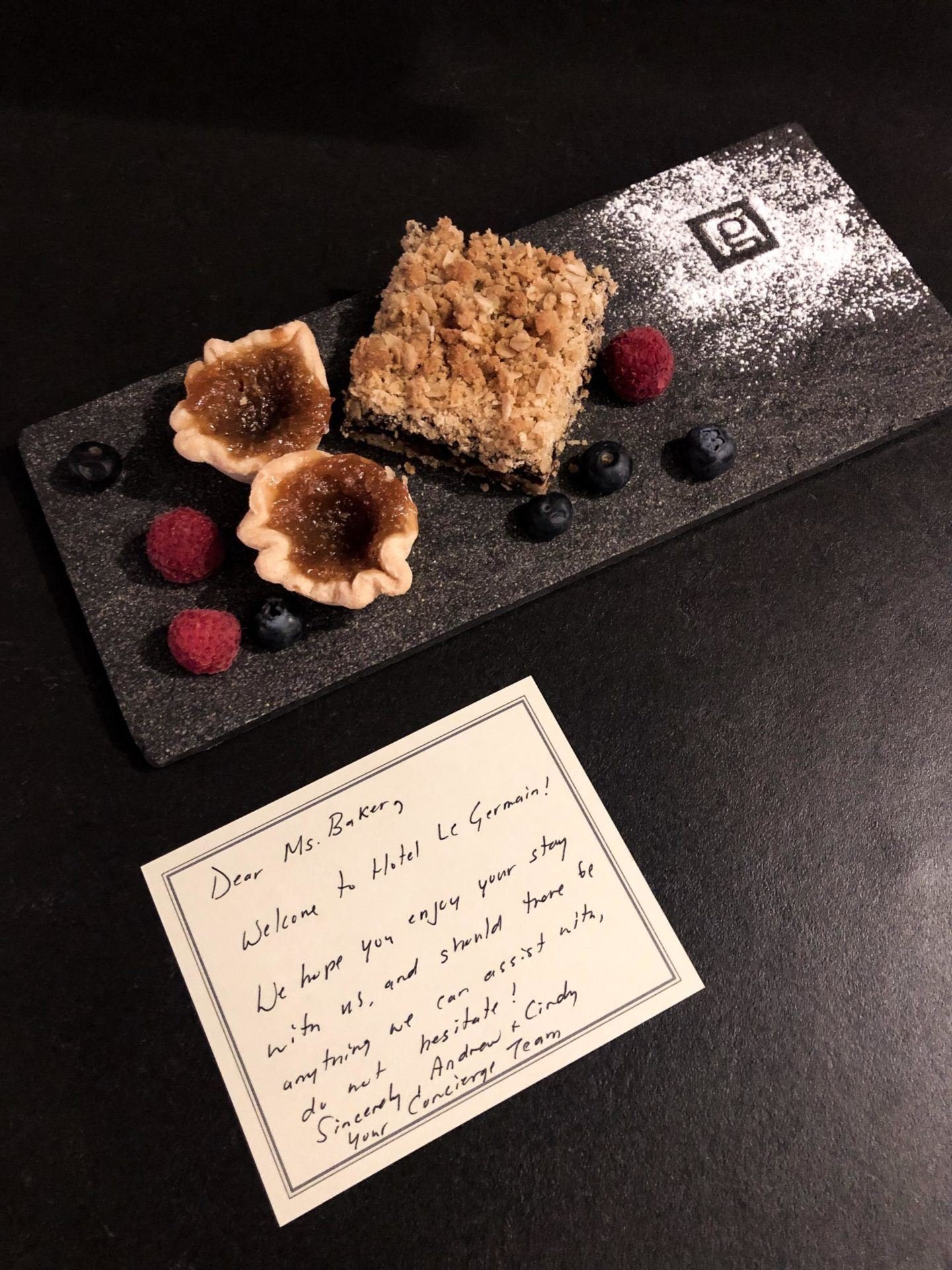 Desserts waiting for me in my room at the Hotel Le Germain Toronto Mercer