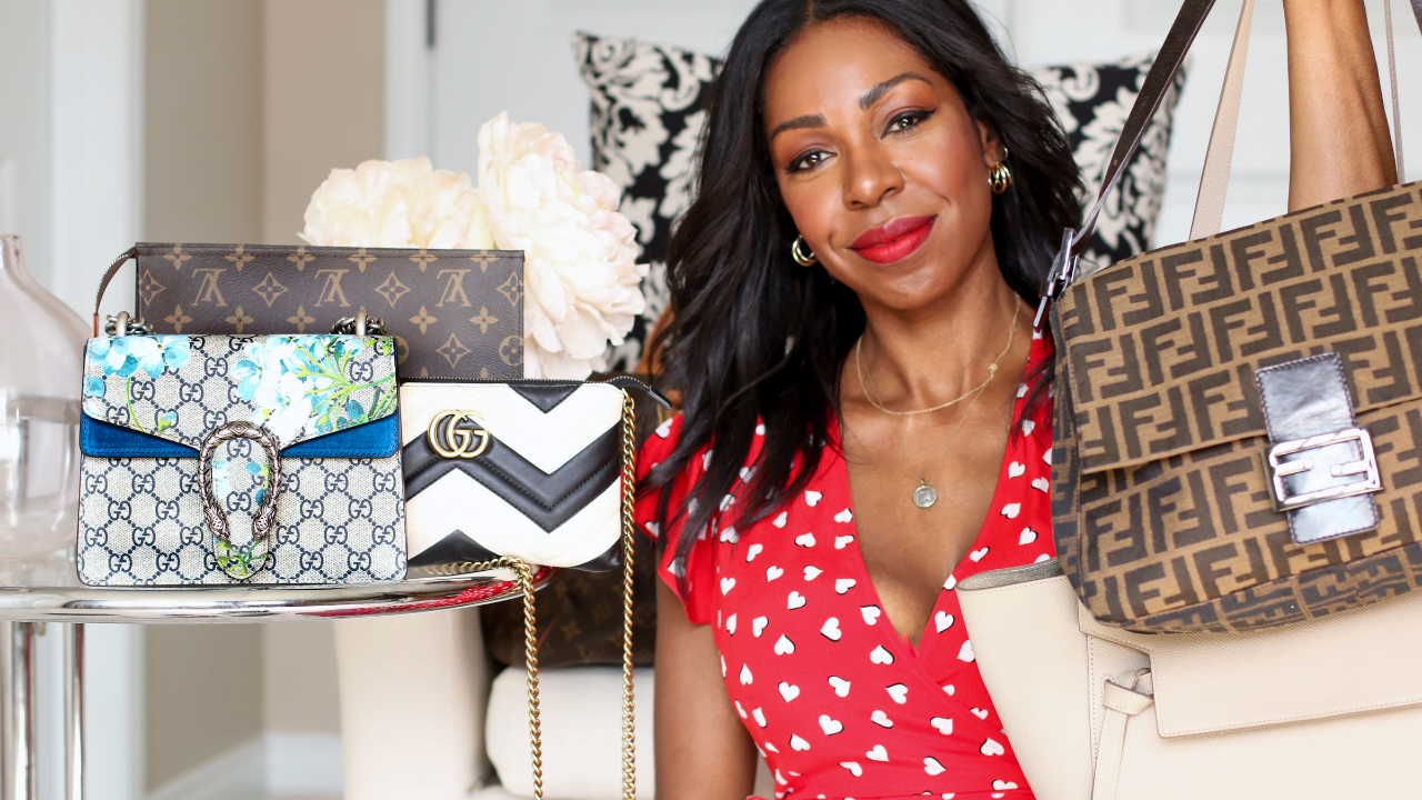 Dominique Baker and her collection of designer handbags