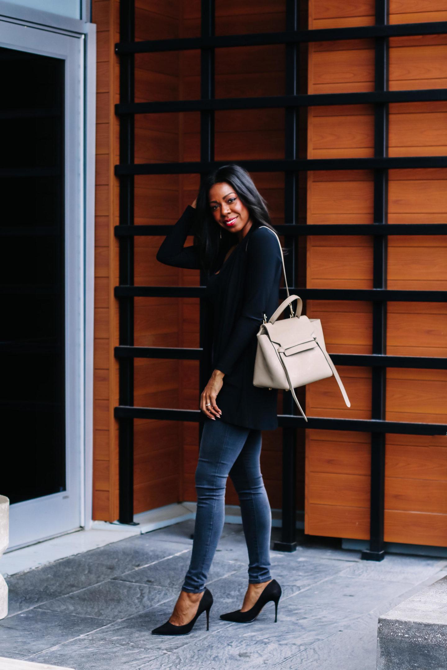 Dominique Baker Standing with Celine Mini Belt Bag