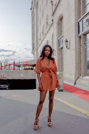 Dominique Baker in Pretty Little Thing Dress at Fairmont Chateau Laurier