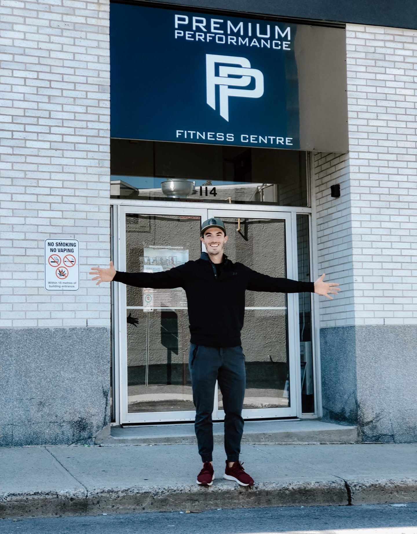 Dave Fontaine, Co-Owner of Premium Performance standing outside of gym