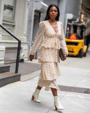 Dominique Baker Wearing Zara Dress at NYFW