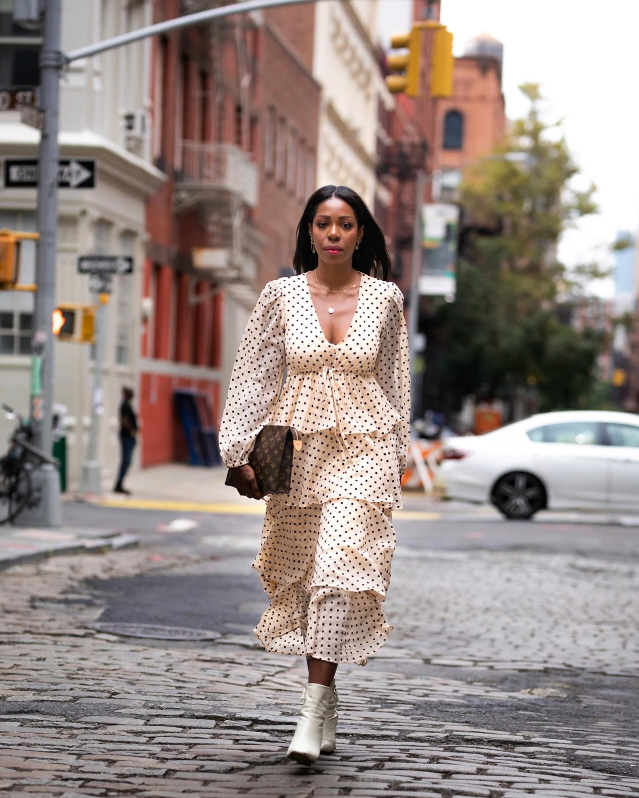 Dominique Baker Wearing Zara Dress at NYFW