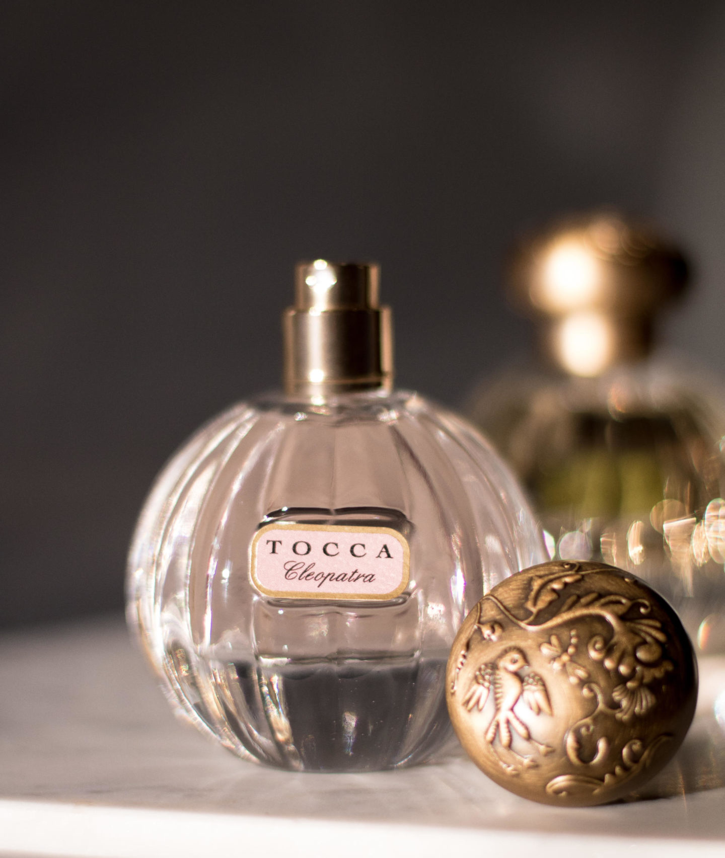 Tocca Cleopatra perfume on a vanity