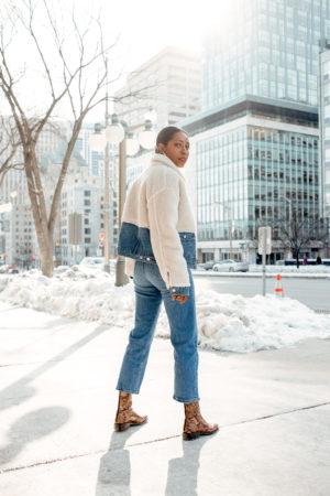 Dominique Baker Posing on Elgin Street in GRLFRND Miya Jacket Finders Keep Hers Boutique