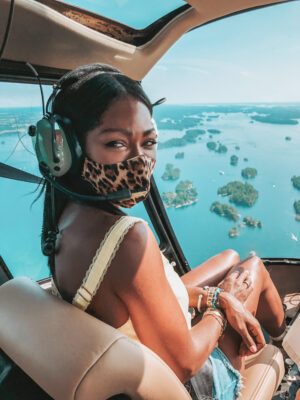 Dominique Baker taking 1000 Islands Helicopter Tour