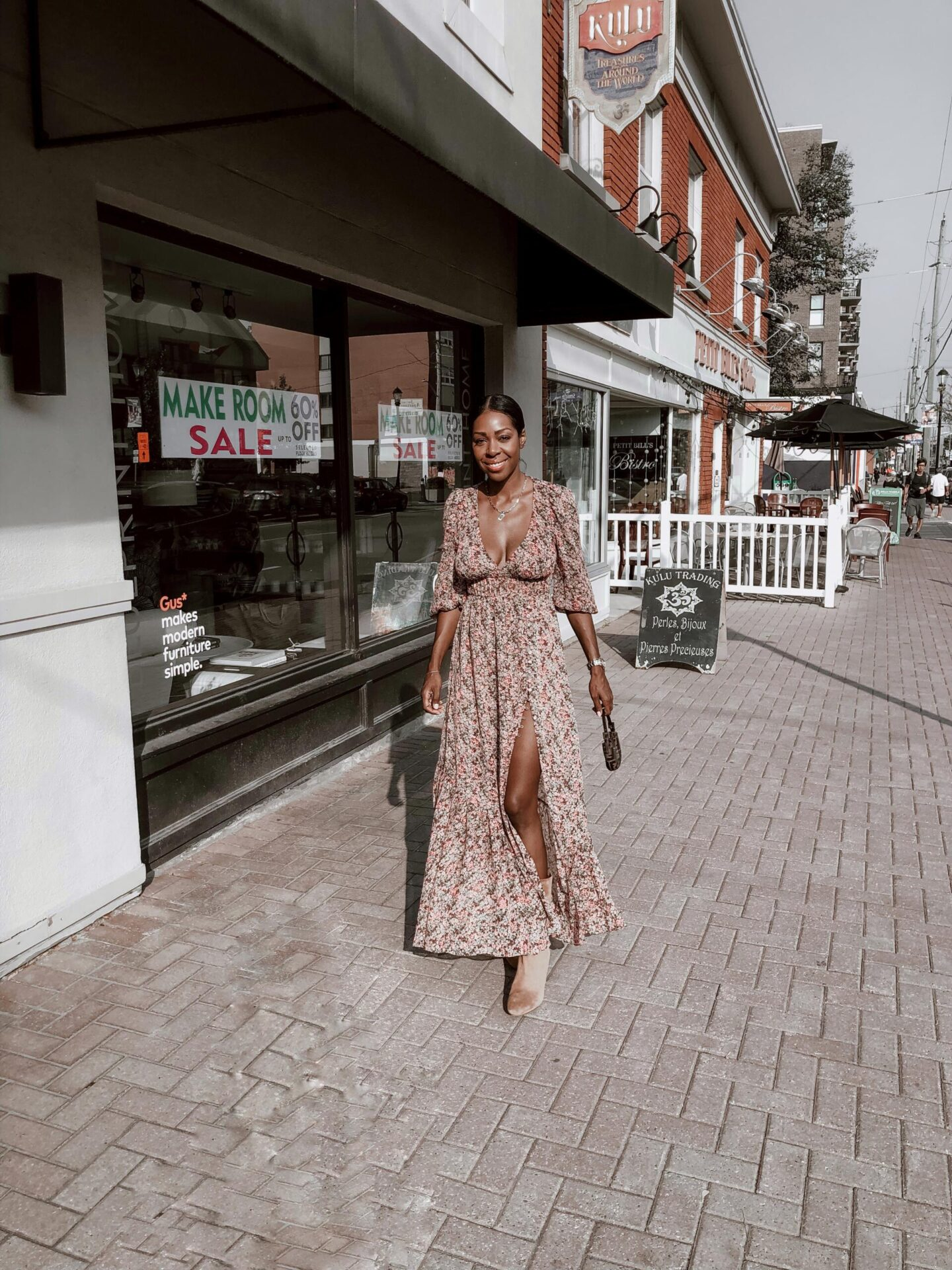 Dominique Baker wearing summer dress in Westboro