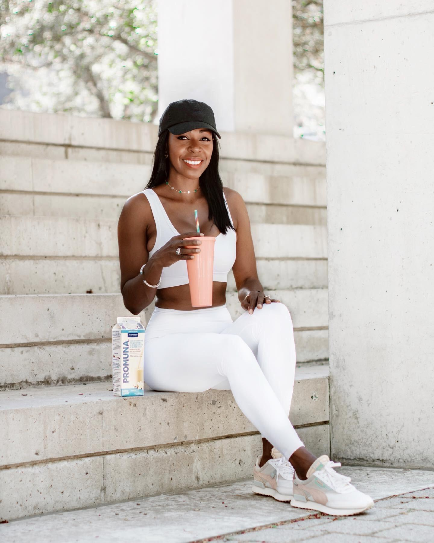 Dominique Baker Drinking Promuna Smoothie