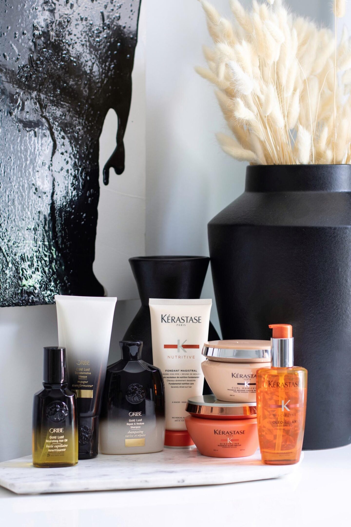 Luxury Haircare Products on vanity